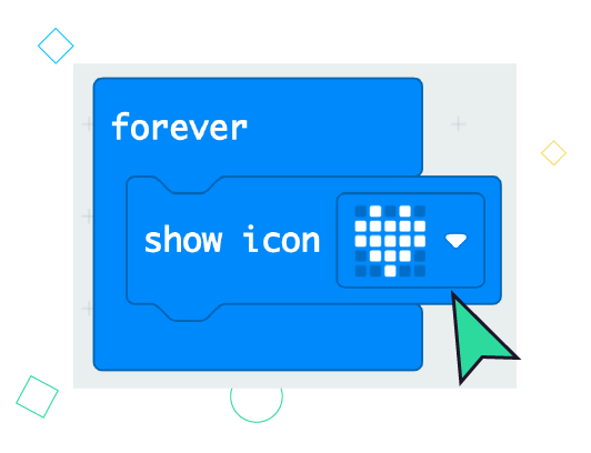 "A sample block of micro:bit code - ""Show Icon - Heart"""