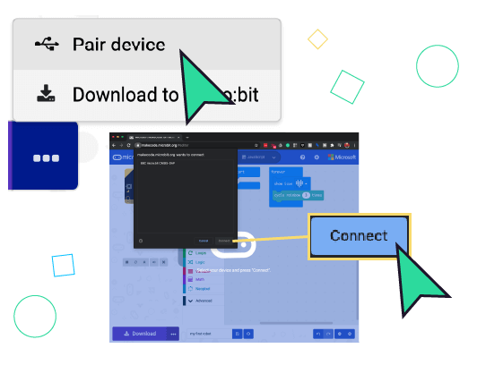 "First click ""Pair Device"" then select your micro:bit and click ""connect"""
