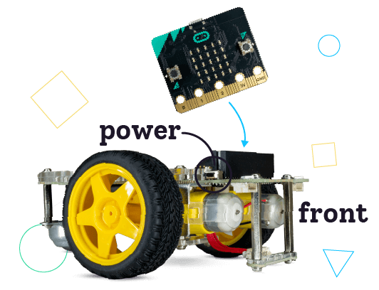 Connect micro:bit to the GiggleBot - buttons face front of robot.