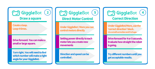 GiggleBot includes access to free projects and coding cards
