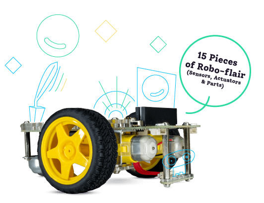 GiggleBot expansion pack includes 15 pieces of robo-flair (sensors, actuators, and parts)