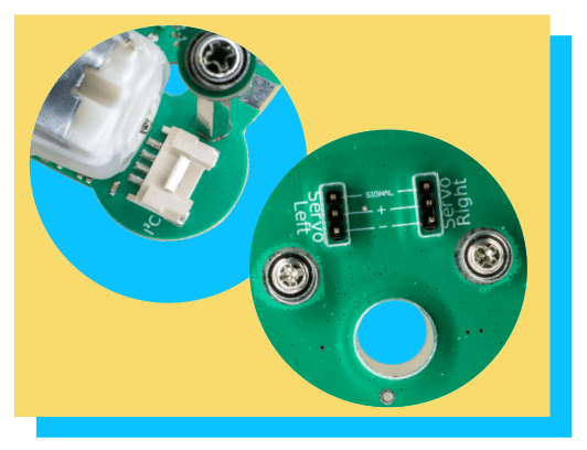 GiggleBot has two servo motor ports and two I2C connection ports.