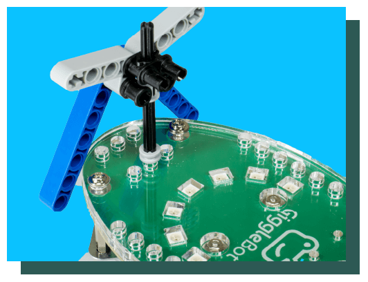 Add LEGO® products to your GiggleBot to customize, decorate, and extend your robot.