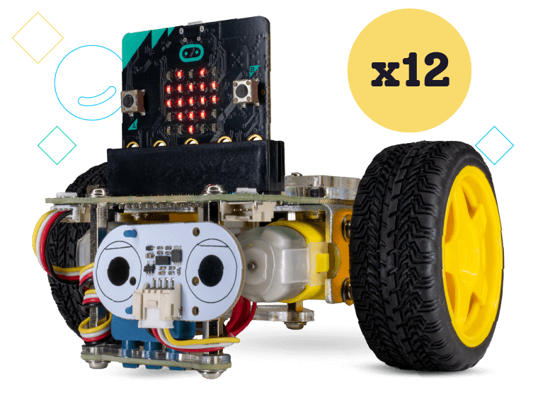GiggleBot for Classrooms includes 12 GiggleBot starter, micro:bit, Distance Sensor, and sensor mount
