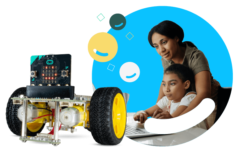 Mother and daughter coding with GiggleBot micro:bit robot.