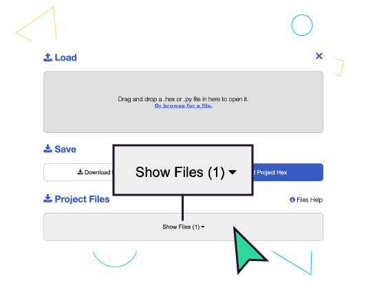 """In the popup- click """"Show Files"""""""